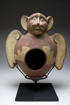 Superb Mayan Pottery Head - Bat God