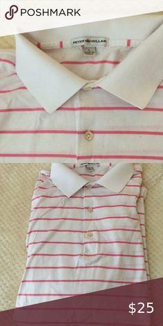 Peter Millar men's polo Pink/white stripes men's polo like new Peter Millar Shirts Casual Button Down Shirts