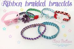 Fun for gifts and party favors too! Ribbon Bracelets, Braided Bracelets, Friendship Bracelets, Sewing Patterns Girls, Sewing For Kids, Free Sewing, Toys For Little Kids, Create Kids Couture, Ribbon Braids