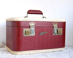 for storage of greeting cards /  Vintage Luggage Train Case Burgundy Red Horn Pennantone Rice Stix  Suitcase. $55.00, via Etsy.