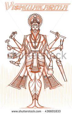 Indian God Vishwakarma in sketchy look. Vishwakarma Puja, Hindu Symbols, Ganesh Images, Ganesh Statue, Mother Goddess, India Art, Hindu Deities, Cute Disney Wallpaper, Krishna Art