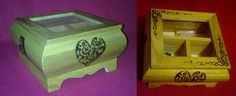 Woodburning designs on a wooden jewellery box.