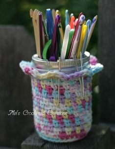 Crocheted Jar Cover - Another cute use for leftover yarn!
