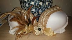 Tahitian bra top in natural/white with hau, feather, burlap