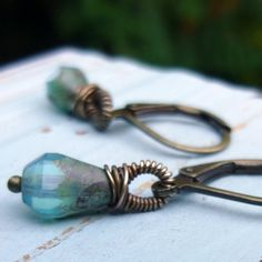 Sky Blue Picasso Finish Czech Teardrop Earrings with by chrdesigns, $22.00