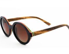 Skateboard Wood Sunglasses Round polarized lenses - Walnut, bamboo, red and green wood