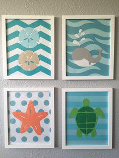 A personal favorite from my Etsy shop https://www.etsy.com/listing/255156285/sea-nursery-art-beach-themed-framed-set