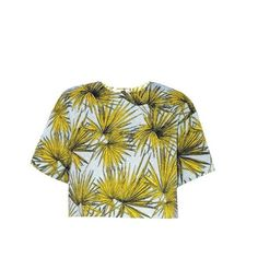 MSGM Palm-print brocade cropped top (285 CAD) ❤ liked on Polyvore featuring tops, yellow multi, brocade top, palm tree top, boxy top, floral top and flower print crop top