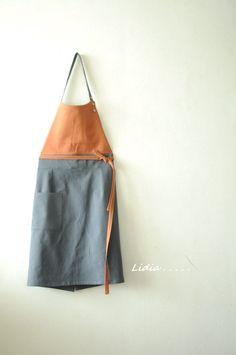 날씬한 오렌지 린넨 앞치마를 만들었어요. 입으면 날씬하고 단정해집니다. 맘도 몸도. 예전에 만든 앞치마...