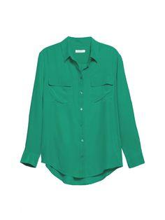 EQUIPMENT Signature Emerald | Long Sleeve Oversized Shirt