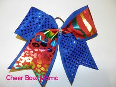 Red & Blue Cheer Bow with Rainbow Animal Print by Cheer Bow Mama