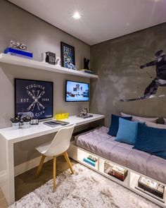 Boys bedroom desk space and under bed storage. Boys bedroom desk space and under bed storage. Bedroom Desk, Small Room Bedroom, Trendy Bedroom, Desk Bed, Budget Bedroom, Small Bedroom Layouts, Bed Room, Small Bedroom Interior, Master Bedroom