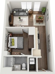 Studio Apartment Floor Plans, Studio Apartment Layout, Small Apartment Design, Studio Apartment Decorating, Garage Apartment Interior, Small Apartment Plans, Studio Apartment Living, 1 Bedroom Apartment, Sims House Plans