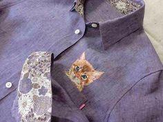 cat shirt hand-embroidery linen chambray woman kawaii flower-print