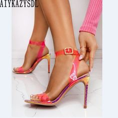 aiykazysdl women neon green sandals yellow rose pink clear transparent shoes high heel snake print serpentine stiletto plus size Yellow Roses, Pink Roses, Neon Pumps, Stiletto Heels, High Heels, Pink Snake, Green Sandals, Snake Print, Neon Green