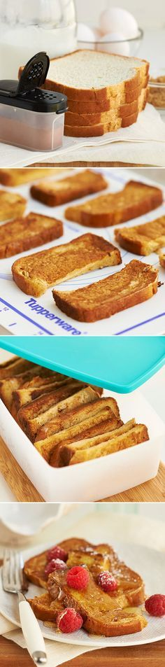 """Freezer French Toast Sticks. You'll save time and the added hassle of trying to decide, """"What's for breakfast?"""" by prepping Freezer French Toast Sticks ahead of time"""
