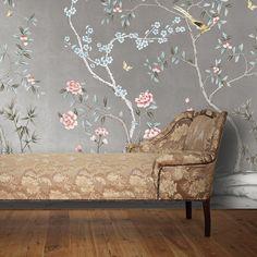 CHINOISERIE Garden Metallic Silver . - Tempaper Designs