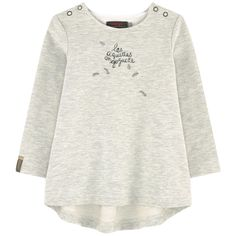 Cotton fleece    Patch: Cotton voile Warm item Very flared bottom Longer cut in the back  Crew neck Long sleeves Back pleat Shoulder snap button openings until size 4 years Fancy print on the front and in the back Mottled effect Small logo patch on the pocket - $ 73