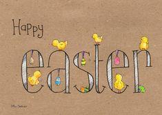 """Vrolijk paaskaartje van Illu-Straver, met allemaal kleine kuikentjes en paaseitjes op en rondom het woord """"easter"""", verkrijgbaar bij #kaartje2go voor €1,89 Happy Easter, Rondom, Handwriting, Bullet Journal, Eggs, Scrapbooking, Drawings, Quotes, Products"""