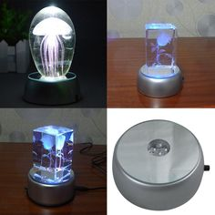 4 LEDs Luminous Base Light Crystal Glass Transparent Objects Display Laser Colorful Round Stand Base for Cocktail