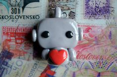 Robot With A Red Heart Charm by CheekyCharmz on Etsy, $5.50