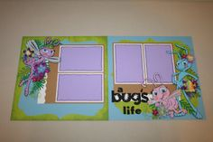 A Bug's Life 12 x 12 Double Page Layout by PaperCraftsByViolet Project Life Scrapbook, Disney Scrapbook Pages, Scrapbook Sketches, Scrapbook Page Layouts, Scrapbook Paper Crafts, Scrapbook Cards, Scrapbooking Ideas, Disney Nursery, Baby Disney
