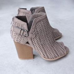 Perforated suede peep toe booties - more colors Material: Vegan Suede (man-made) Sole: Synthetic Measurement Heel Height: (approx) Shaft Length: (including heel) Top Opening Circumference: 10 (approx) Bootie Boots, Shoe Boots, Shoes Heels, Fall Booties, Open Toe Booties, Suede Booties, Ankle Booties, High Heels, Cute Shoes