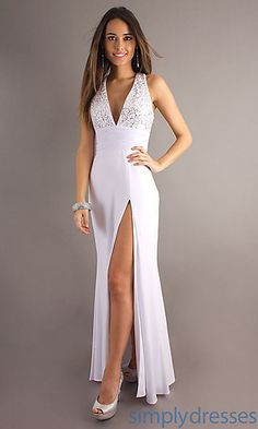 Low Cut Evening Gown for Prom by Alyce at SimplyDresses.com