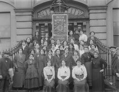 Members of the Irish Women Workers' Union on the steps of Liberty Hall by National Library of Ireland on The Commons on Flickr.