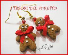 """Orecchini """"Pan di zenzero Gingerbread"""" fimo cernit kawaii, by I TESORI DEL FURETTO, 7,00 € su misshobby.com"""