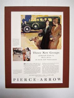 1930 Pierce Arrow Automobile Vintage Advertisement Matted 11x14 Antique Car Ad Automotive Wall Art Man Cave Decor Original Magazine Print Ad by RelicEclectic on Etsy