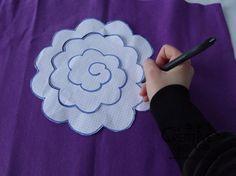 tutorial come fare fiore stoffa feltro 19