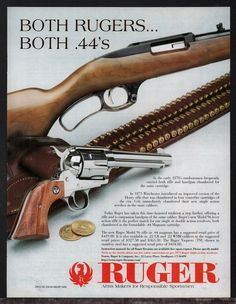 1997 RUGER Model 96 Rifle & Vaquero Revolver AD Firearms Advertising #Ruger
