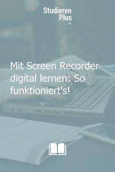 Mit einem Screen Recorder kannst du - wie der Name schon verrät - Bildschirmaufzeichnungen erstellen. So bekommst du die Möglichkeit, um Beispiel direkt an deinem Rechner How-To aufzunehmen und über Mikrofon Erklärungen einzusprechen. Besonders für visuelle Lerntypen helfen solche Methoden auch super bei der Prüfungsvorbereitung. Du kannst Inhalte von Vorlesungen noch einmal visuell nacharbeiten und sie dir so besser merken. #lernen #digitallernen #prüfungsvorbereitung Screen Recorder, Motivation, Super, Digital, To Study, Writer's Block, Calculator, Learning Methods