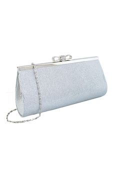 "Sparkle lurex clutch with sliver accent and rhinestone bow. Great for a night out.  Size:10.75"" X 4"" X 2.25"" xlong silver chainapprox. 47""  Silver Sparkly Clutch by Grand. Bags - Clutches - Evening Canada"
