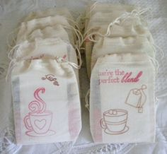 Tea favor  pouch WITH  tea bag set of 5 by nicegifts on Etsy