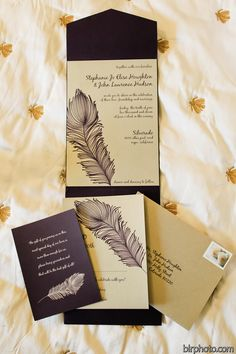 eggplant and champagne wedding invitation with feather painting