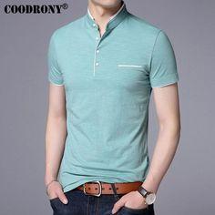 COODRONY Mandarin Collar Short Sleeve Tee Shirt Men 2017 Spring Summer - chicmaxonline