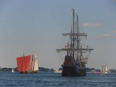 Draken Harald Harfagre, Pride of Baltimore II and El Galeon. Empire Sandy is in the distance on the right.