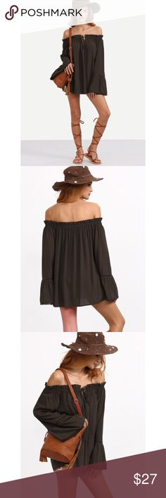 Brown Off The Shoulder Ruffle Blouse Brown Off The Shoulder Ruffle Blouse Size Available : XS Fabric : Fabric has no stretch Season : Summer Pattern Type : Plain Sleeve Length : Long Sleeve Color : Brown Material : Rayon Style : Casual Collar : Off the Shoulder Decoration : Ruffle Bust(cm) : XS:127cm Length(cm) : XS:59cm Sleeve Length(cm) : XS:57cm Shein Tops Blouses