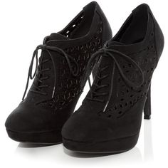 Black Cut Out Lace Up Shoe Boots ($14) ❤ liked on Polyvore featuring shoes, boots, ankle booties, heels, sapatos, black lace up boots, high heel boots, black lace up booties, black boots and heeled booties