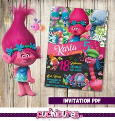 Trolls Invitation Trolls Party Trolls Birthday by TusCuchituras