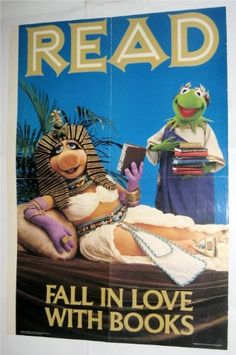 "Vintage Muppets ""Read"" Poster- Miss Piggy and Kermit the Frog"