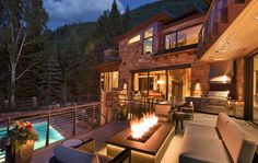 This mountain contemporary home was custom designed by Berglund Architects in collaboration with Sarah Carr Design, located in Vail, Colorado.