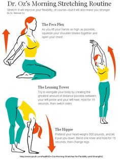 Dr. Oz's morning stretch routine.  http://www.oprah.com/health/Dr-Ozs-Morning-Stretches-for-Flexibility-and-Strength/
