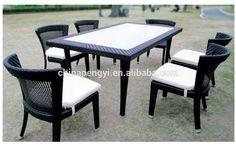Ratán y tela ourdoor muebles conjuntos de sillas mesas
