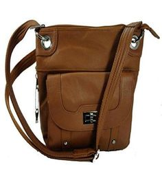Concealed Carry Cross Body Leather Gun Purse with Locking Zipper Light Brown #RomaLeathers #Crossbody