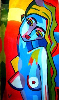 femme sexy style picasso dans les tons de jaune ocre et bleu peinture acrylique sur toile