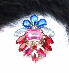 Unique Czech Multicolored Rhinestone Pin