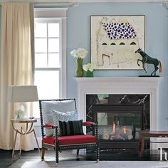 A Ralph Lauren Home chair Eclectic Living Room, Blue Walls, Wood Turning, Vignettes, Interiors, Interior Design, Chair, Gallery, Home Decor